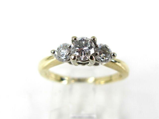 Estate 14k Yellow Gold Round Cut Natural .97ctw Diamond Engagement Ring 3.2g