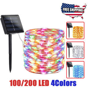 200/100 LED Solar Power String Fairy Lights Christmas Garden Outdoor Party Lamp