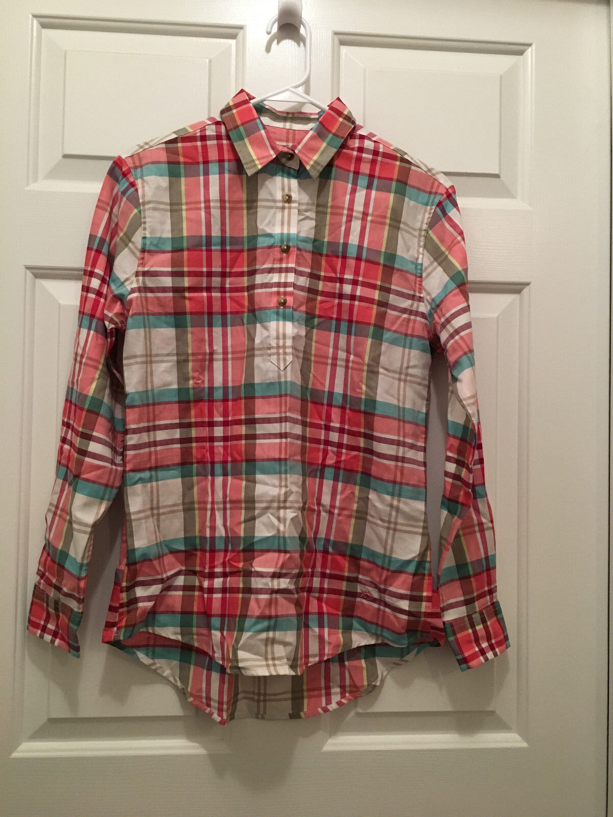 NWT Southern Tide Women's Hadley Popover Mountain Plaid Button Front Shirt Large