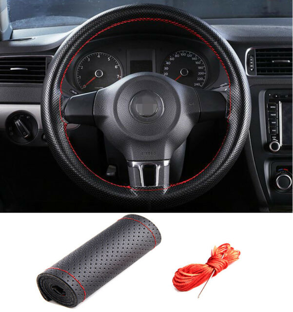 Universal 37-38cm//15/'/' Car Steering Wheel Cover Genuine Leather w//Needle Thread