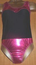 HOT PINK FOIL/BLACK/LYCRA LEOTARD/11/12 YEAR/FREESYTLE COSTUME