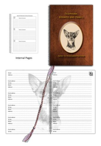 Chihuahua SC Dog Address Telephone Book /& with Dates section in 3 colours Gift