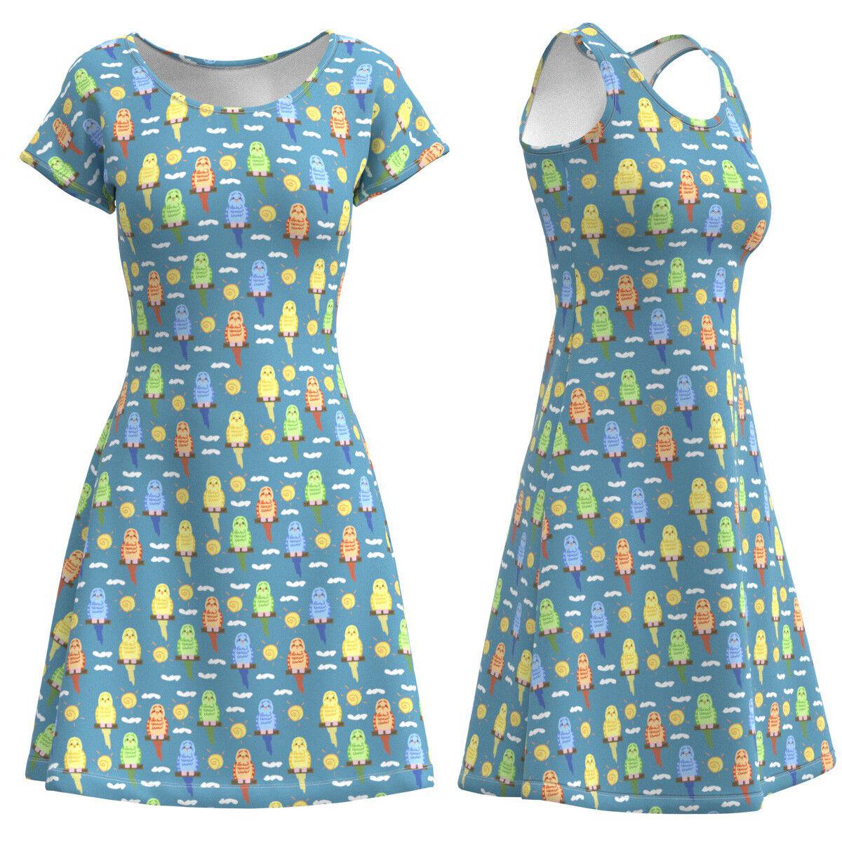 Budgie Budgerigar Parakeet Bird Women Short Sleeve Sleeveless Dress Size XS-5XL