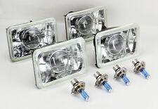 "FOUR 4x6"" Halogen Semi Sealed H4 Clear Projector Headlights Conversion w/ Bulbs"