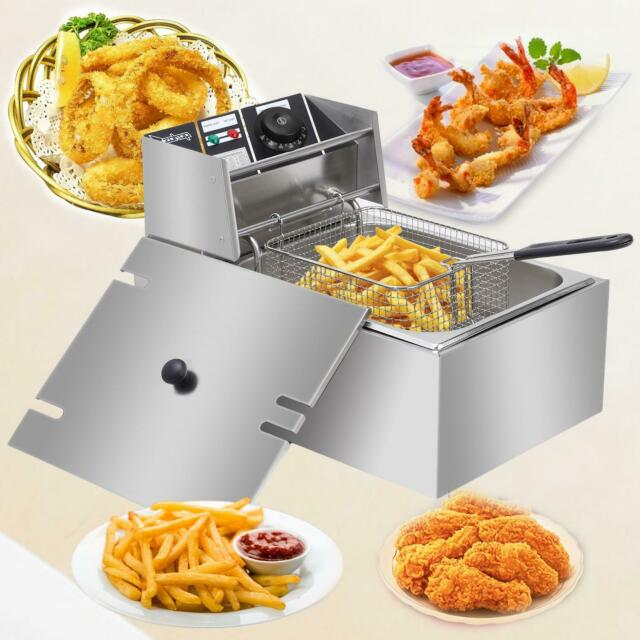 2500W 6L / 6.3QT Electric Deep Fryer Commercial Stainless Steel Fry Basket Home