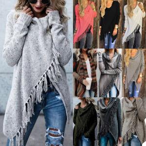 Details zu Damen Quaste Asymmetrische Strickjacke Bluse Poncho Langarm Jacken Mäntel Top DE