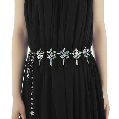 112 cm Women Ladies Fashion Diamante Chain Waist Belt Modern Dress Accessory