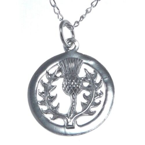 """Sterling Silver Thistle Pendant with 18/"""" Silver Chain /& Box Scottish Necklace"""