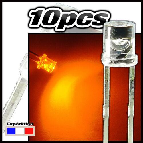 220//10# LED cylindrique Orange 10pcs flat TOP LED 3mm  Orange