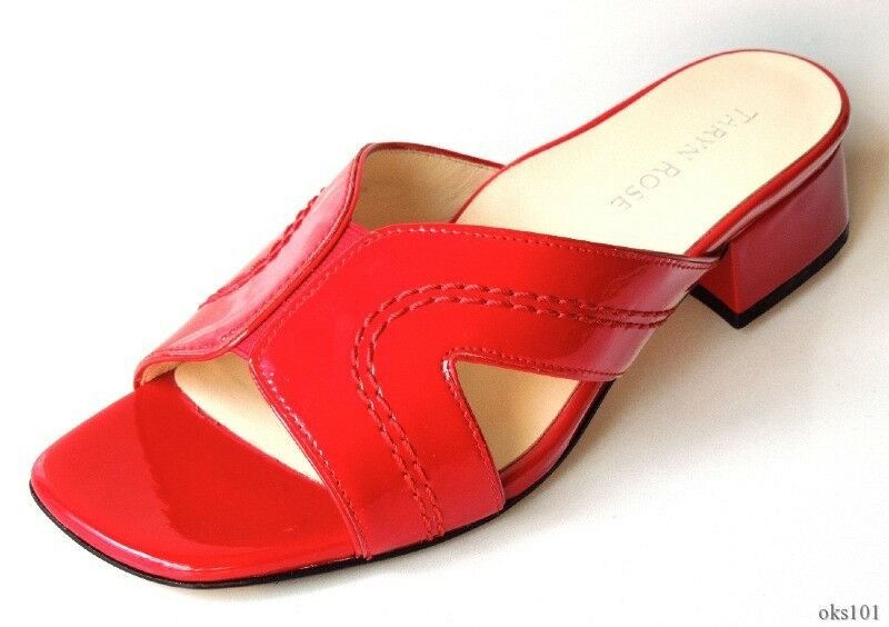 New TARYN pink 'Olympia' red patent leather flats mules mules mules shoes 9 - very comfy b519de