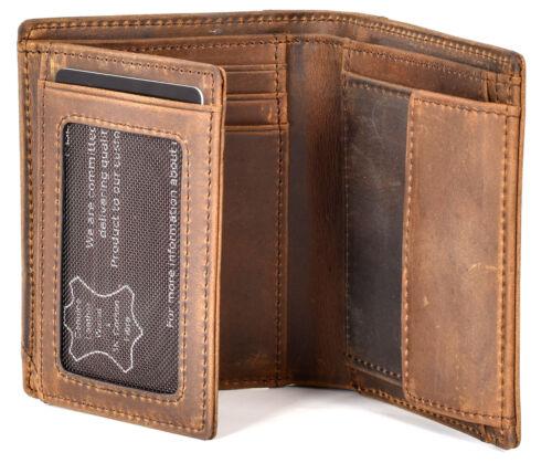Premium Geldbörse Braun VintageUsed-Look Portmonee HerrenGeldbeutel Männer