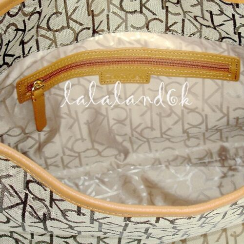 Klein Caramel Bag Logo Calvin Brown Medium Khaki Shoulder Ck Hobo Handbag Y76fyIbgv