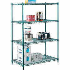 New Listingnexel Poly Green 5 Tier Wire Shelving Starter Unit 48w X 18d X 74h