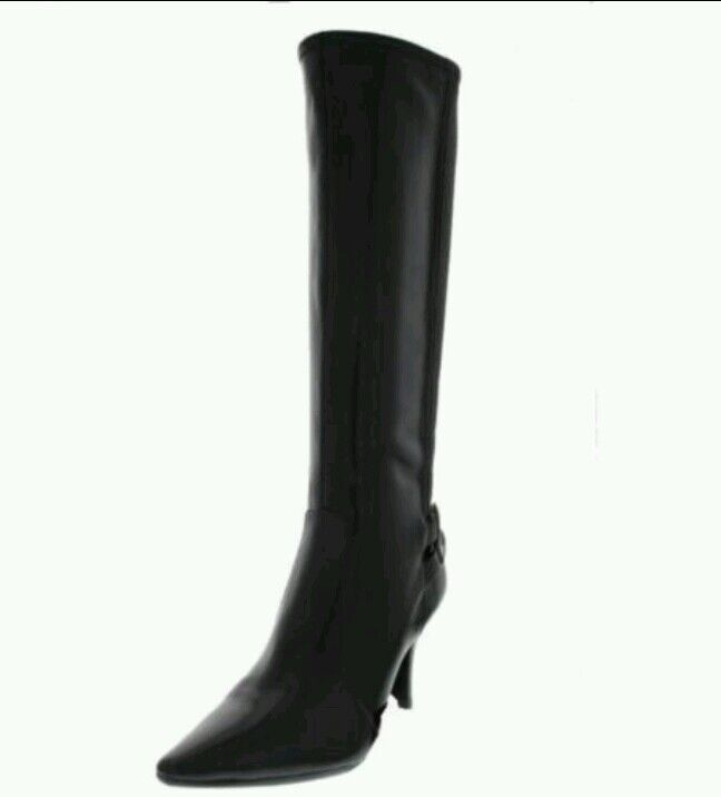 Pre-owned ALFANI  Celia Black Stretch Heels Knee-High Boots Shoes 5.5 Medium
