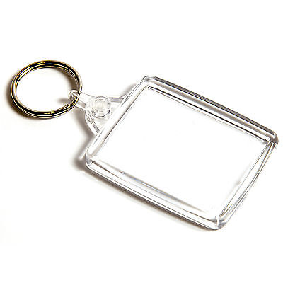 1 BLUE CASED CLEAR KEYRINGS 45mm x 35mm PHOTO COVERED