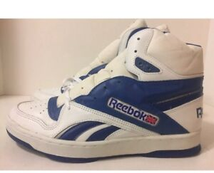 new concept 8ff65 45682 Details about NOS Vintage 1990s Reebok Classic High top White/Navy US Size  11.5 RARE New!!!!