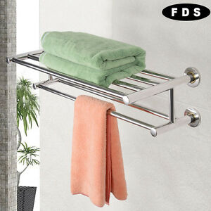 Double Towel Rail Holder Wall Mounted Bathroom Rack Shelf Stainless