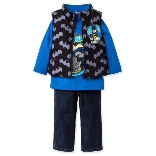 Batman Toddler Boys Black Puffer Vest 3pc Pant Set Size 2T 3T 4T