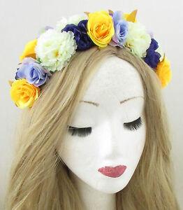 Yellow Purple Ivory Rose Flower Headband Hair Crown Festival Boho ... fd07b3b6601