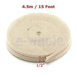 "1/2"" Flat Cotton Oil Lamp Wick 15foot Roll For Oil Lamps and Lanterns HM"