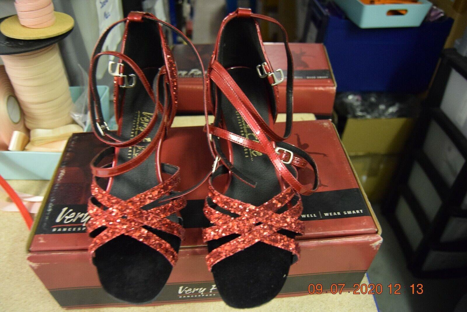 red glitter multi strap Very Fine ballroom latin dance shoes - size UK 5.5
