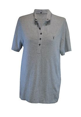 ** All Saints ** Grey Polo Short Sleeved Top ** Large **