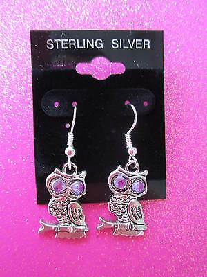 Boma Jewelry Sterling Silver Open Owl Dangle Earrings