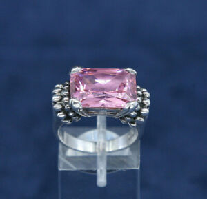 solid 925 silver with pink crystal vintage Sterling silver handmade statement ring 510659 minimalist stamped 925 Size 7 simplistic