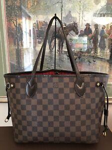 LV-Louis-Vuitton-Neverfull-PM-Ebene-Damier-Shoulder-Tote-Handbag-Purse