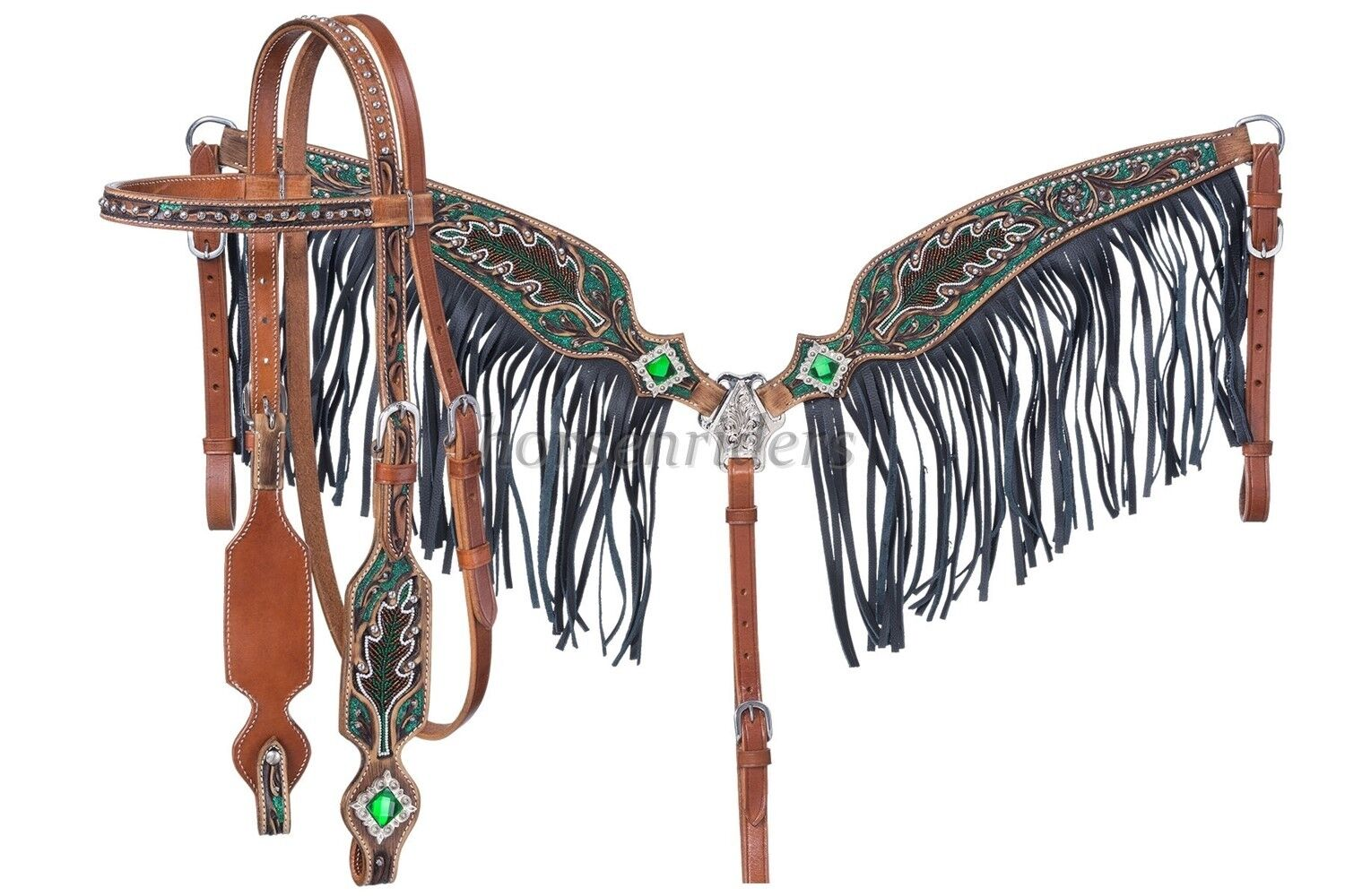 Western Headstall & Fringed Breastcollar  verde Beaded  Glitterosso  Crystals