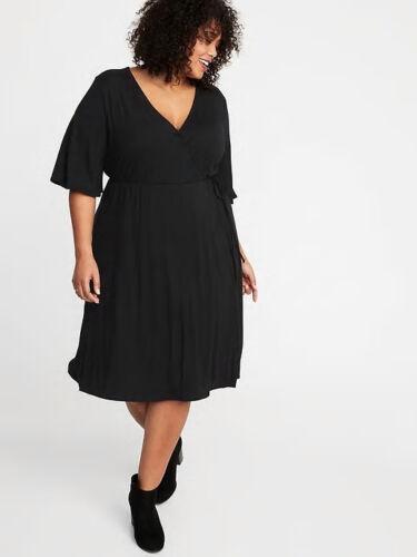 Old Navy Women/'s Plus Black Waist Defined Wrap Front Dress Size 3X