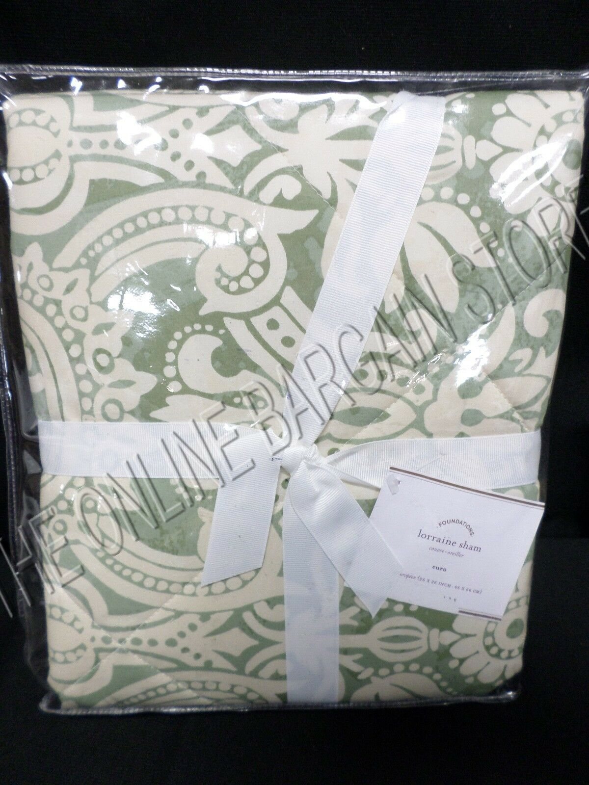 Pottery Barn Lorraine Quilted Damask Floral Bed Pillow Sham Euro Square Green