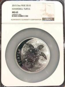 2015  Silver 5 oz. $10 Fiji Hawksbill Turtle Tuku NGC MS-63 N/R!!