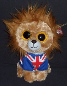 "TY BEANIE BOOS – HERO the 9"" LION (MEDIUM) - MINT w/ NEAR PERFECT TAG - GLITTER"