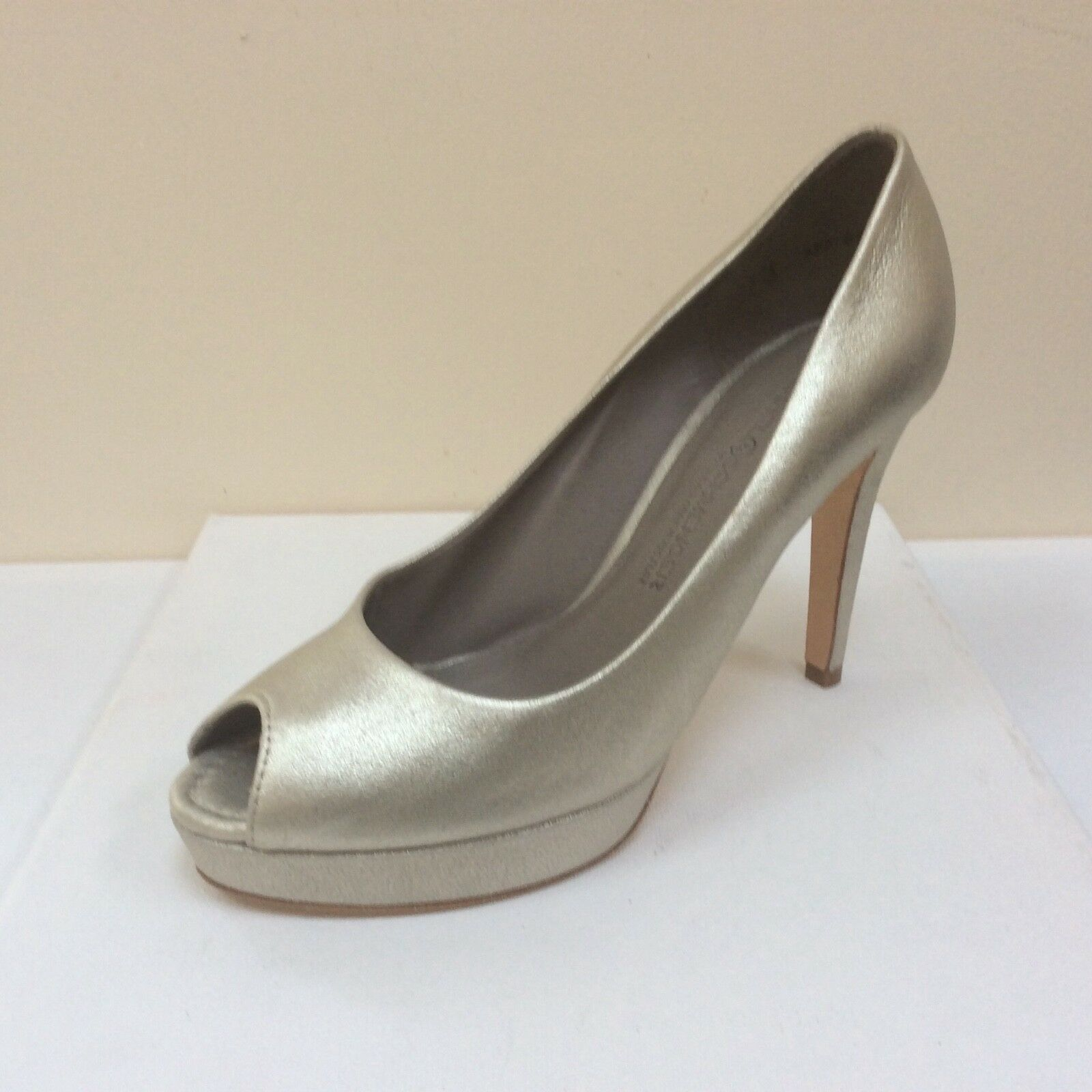 K&S Gia gold Leder peep toe platform courts, UK 3/EU 36,   BNWB