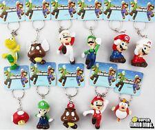 New 1 Set 11 pcs lovely Super Mario Key Chain Key Ring KEY Charms Phone Charm
