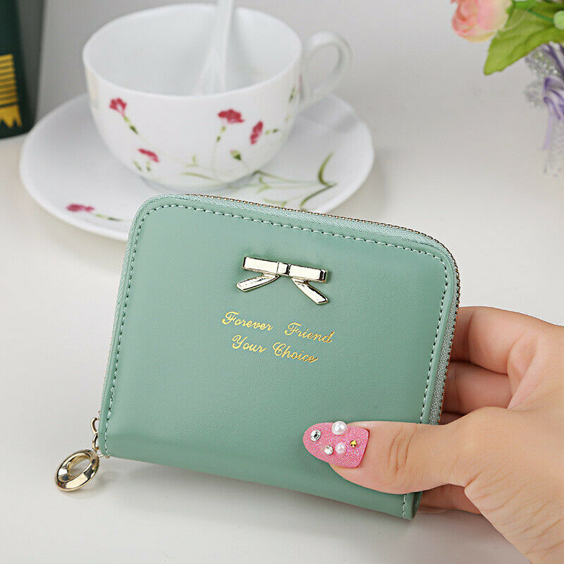 Female Card Clamps Cash Clip Billfold Handbag Women Coin Purse PU Leather Wallet