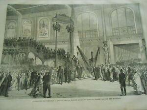 DéTerminé Gravure 1868 - Expo Universelle Section Anglaises Grand Galerie Machines