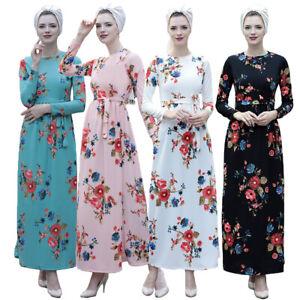 Women-Flower-Printed-Long-Dress-Muslim-Abaya-Kaftan-Islamic-Maxi-Robe-Dubai-Gown