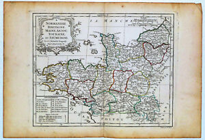 Map Of Northwest France.C 1780 Genuine Antique Map Nw France Normandie Bretagne De