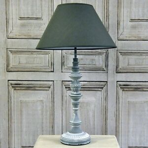 French Style Shabby Chic Farmhouse Grey Wash Distressed Table Lamp Linen Shade Ebay