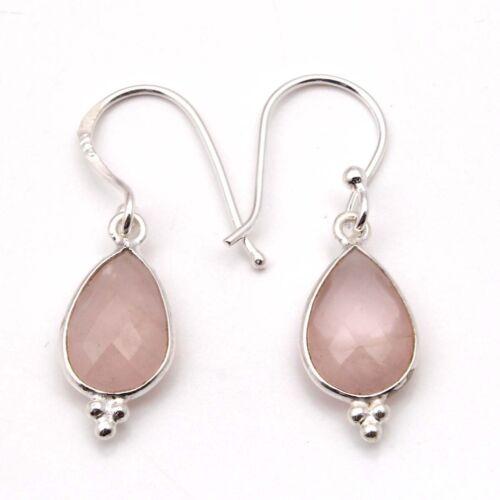 Elegant 925 Sterling Silver Fine PINK CHALCEDONY Pear Gemstones Earrings C-7800