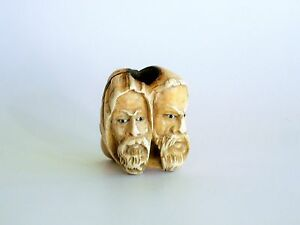 Antik-Meerschaum-Hand-geschnitzt-Pfeife-2-Araber-Orientalisten