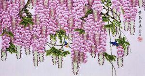 HANDPAINTED-ORIENTAL-ASIAN-ART-CHINESE-WATERCOLOR-PAINTING-Wisteria-flower-amp-bird
