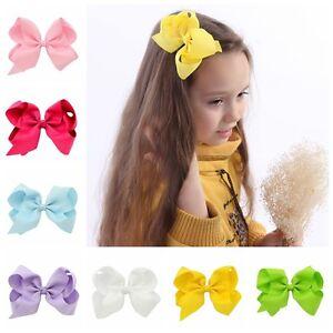 "Girl's 15pcs/lot 6"""" Large Grosgrain Ribbon Bow Clips DIY Headdress"