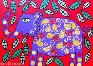 Purple-Elephant-Red-Mexican-Flowers-Kerri-AMBROSINO-ACEO-Canvas-Giclee-Print-ATC