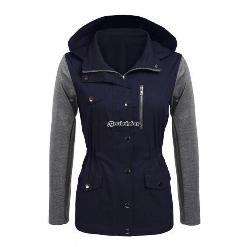 Women Hooded Patchwork Drawstring Waist Casual Military Jacket w// Pocket B98B