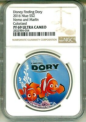 2016 Niue S$2 Disney Finding Dory Bailey The Beluga Whale Colorized NGC PF69 UC