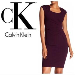 Calvin-Klein-NWT-Exquisite-Fancy-Neck-AUBERGINE-Scuba-Sheath-Dress-size-4