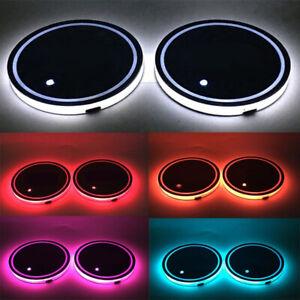 Beleuchten-Untersetzer-USB-Pads-Lade-LED-Getraenkehalter-Auto-Atmosphaere-Lampen-D